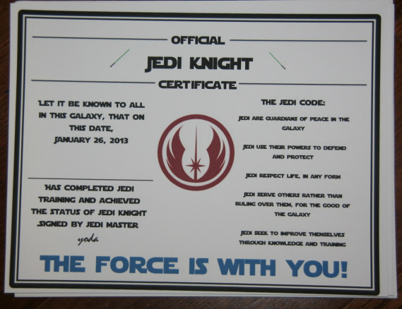 Star wars jedi training certificate template hot girls for Star wars jedi certificate template free